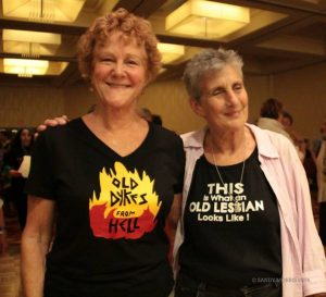 Alix Dobkin and friend at an OLOC Gathering