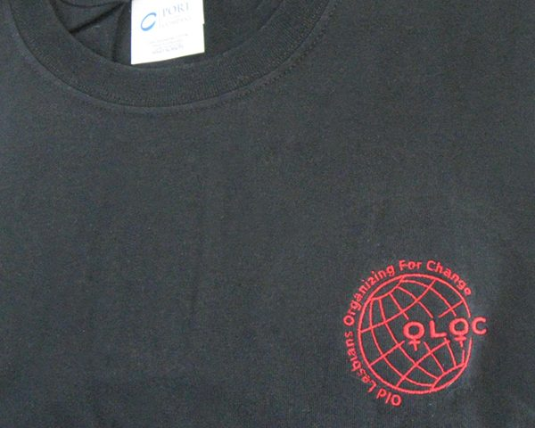 Black with red embroidery